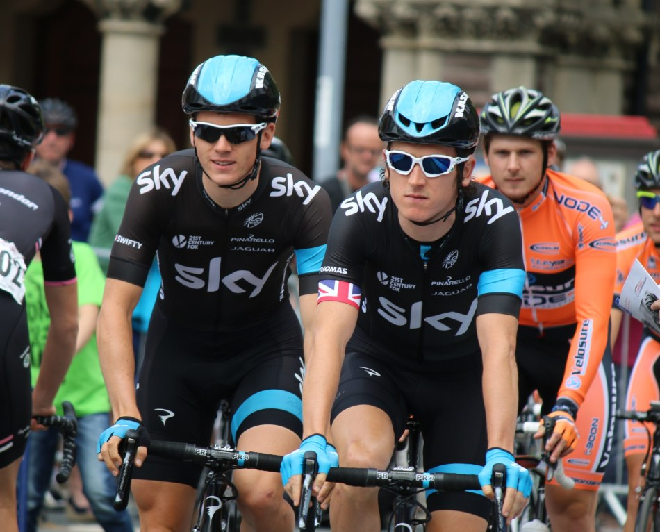 Geraint Thomas (right) with team-mate Ben Swift (Image: Marc via Flickr cc)