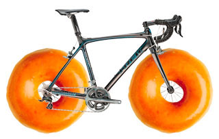Bicycle with doughnut wheels